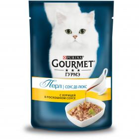 Gourmet (Гурмэ) Перл Соус Де-люкс влажный корм для взрослых кошек, с курицей в роскошном соусе