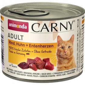 ANIMONDA CARNY ADULT консервы для кошек с говядиной, курицей и сердцем утки