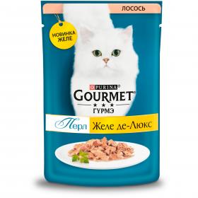 Gourmet (Гурмэ) Перл Желе Де-Люкс влажный корм для взрослых кошек, с лососем в роскошном желе