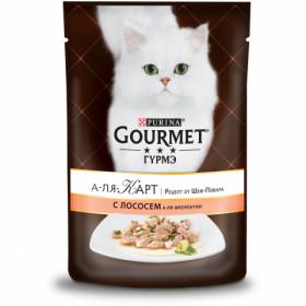 Gourmet (Гурмэ) А-ля Карт. Рецепт от Шеф-Повара. Корм консервированный полнорационный для взрослых кошек, c лососем, шпинатом и цукини
