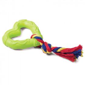 """TRIOL (ТРИОЛ) Игрушка для собак из ц/литой резины """"Сердечко с веревкой"""", 70/150мм"""