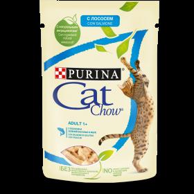 Purina Cat Chow, влажный корм для взрослых кошек с лососем и зеленой фасолью в желе