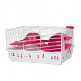 Voltrega Клетка для грызунов Princess (114), белый/розовый, 39х25.5х22см