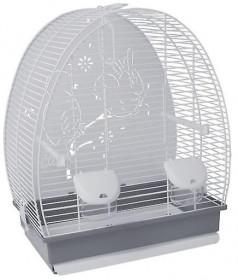 VOLTREGA Клетка для птиц с глухой задней стенкой (672), серо-белая, 52.5x28x55.5см