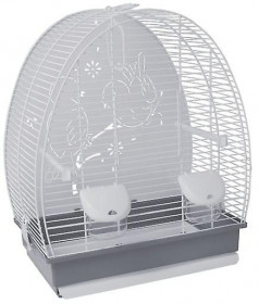 Voltrega Клетка для птиц (671) с глухой задней стенкой, бело-серая, 41.5х25.5х48.5см