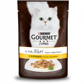 Gourmet (Гурмэ) А-ля Карт. Рецепт от Шеф-Повара. Корм консервированный полнорационный для взрослых кошек, с курицей, пастой и шпинатом