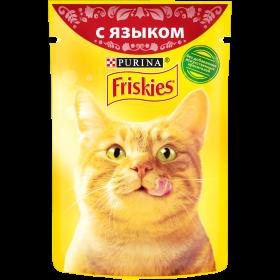 Purina Friskies, Влажный корм Friskies для взрослых кошек, с языком в подливе, Пауч