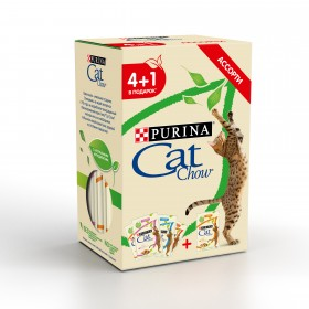 Purina Cat Chow, влажный корм для кошек , промопак 4+1, пауч 5шт*85гр