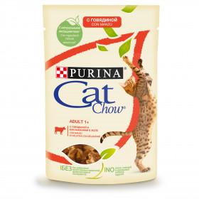 Purina Cat Chow, влажный корм для взрослых кошек с говядиной и баклажанами в желе