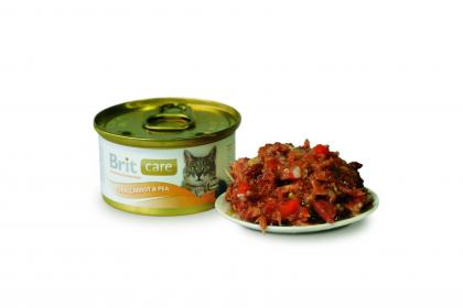 Brit Care Консервы для кошек Тунец, морковь, горошек