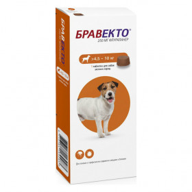Intervet Бравекто жевательная таблетка от блох и клещей для собак весом 4,5-10 кг, 250 мг
