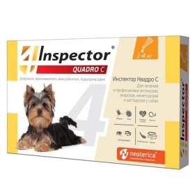 Inspector Quadro С капли от блох, клещей и глистов для собак до 4кг
