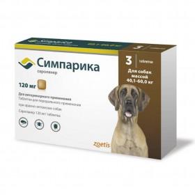 Zoetis Симпарика от блох и клещей для собак массой 40,1-60 кг, 120 мг, 3 таблетки