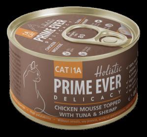 Prime Ever 1A Delicacy Мусс цыпленок с тунцом и креветками влажный корм для кошек жестяная банка