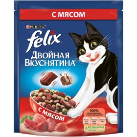 Felix (Феликс) Двойная Вкуснятина. Корм сухой полнорационный для взрослых кошек, с мясом