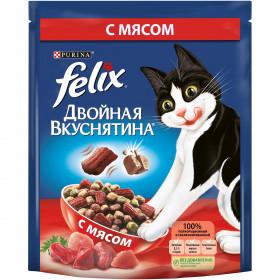 Felix Двойная Вкуснятина. Корм сухой полнорационный для взрослых кошек, с мясом