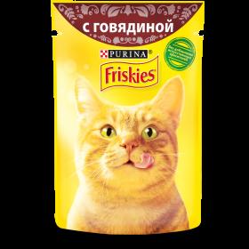 Purina Friskies, Влажный корм Friskies для взрослых кошек, с говядиной в подливе, Пауч