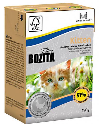 BOZITA Feline Funktion Kitten Tetra Pak кусочки в желе с курицей для котят, молодых, беременных и кормящих кошек (190 г)