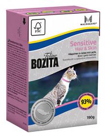 BOZITA Feline Funktion Hair&Skin Tetra Pak кус.в желе с лососем д/чувств. кожи и здор.шерсти (190г)