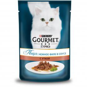 Gourmet (Гурмэ) Перл. Корм консервированный полнорационный для взрослых кошек, с уткой, нежное филе в соусе