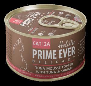 Prime Ever 2A Delicacy Мусс тунец с креветками влажный корм для кошек жестяная банка