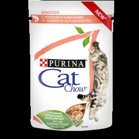 Purina Cat Chow, влажный корм для взрослых кошек с чувствительным пищеварением с лососем и кабачками в соусе