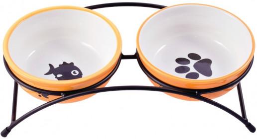 Миски керамические на подставке для собак и кошек двойные 2x290 мл оранжевые