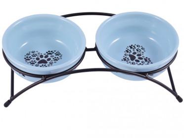 Миски керамические для собак и кошек двойные 2x290 мл синие