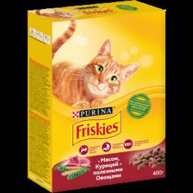Purina Friskies, Сухой корм Friskies для взрослых кошек, с мясом, курицей и полезными овощами, Коробка