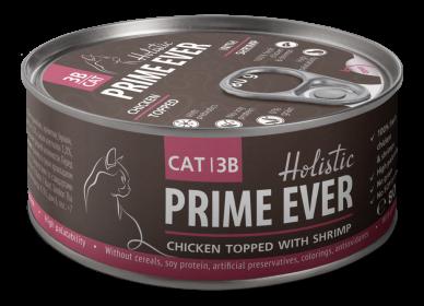 Prime Ever 3B Цыпленок с креветками в желе влажный корм для кошек жестяная банка