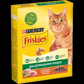 Purina Friskies, Сухой корм Friskies для взрослых кошек, с курицей и полезными овощами, Коробка