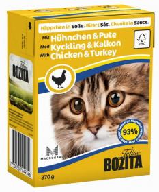 BOZITA Feline Chicken&Turkey Tetra Pak кус. в соусе с курицей и индейкой д/кошек (370г)