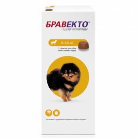 Intervet Бравекто жевательная таблетка от блох и клещей для собак весом 2-4,5 кг 112,5 мг