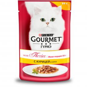 Gourmet (Гурмэ) Мон Петит®. Корм консервированный полнорационный для взрослых кошек, с курицей в соусе
