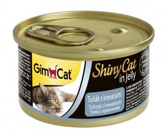 GimCat, ShinyCat консервы для кошек из тунца с креветками