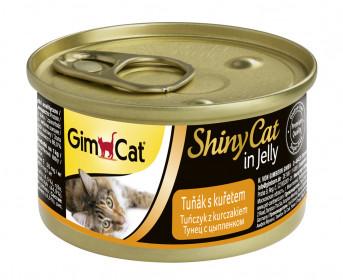 GimCat, ShinyCat консервы для кошек из тунца с цыпленком