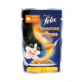 Felix Sensations. Корм консервированный полнорационный для взрослых кошек, с индейкой в соусе со вкусом бекона