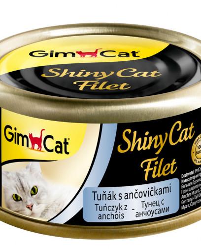 GimCat, ShinyCat Filet консервы для кошек из тунца с анчоусами