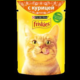 Purina Friskies, Влажный корм Friskies для взрослых кошек, с курицей в подливе, Пауч