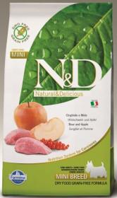 Сухой корм для собак Farmina N&D беззерновой, дикий кабан с яблоком для мелких пород