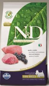 Сухой корм для собак Farmina N&D, беззерновой, ягненок с черникой для мелких пород