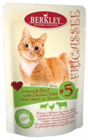 Berkley Fricassee консервы для кошек Ягненок и говядина с кусочками курицы и травами в соусе №5