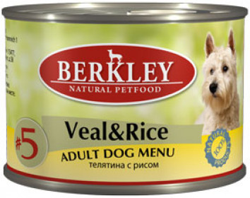 Berkley консервы для собак телятина с рисом №5 200 г