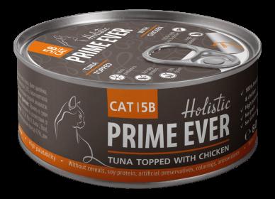 Prime Ever 5B Тунец с цыпленком с желе влажный корм для кошек жестяная банка