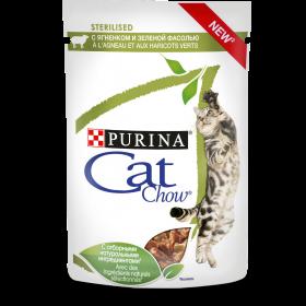 Purina Cat Chow, влажный корм для взрослых стерилизованных кошек и кастрированных котов с ягненком и зеленой фасолью в соусе