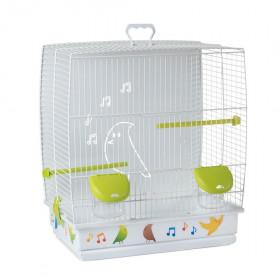 Voltrega Клетка для птиц (645B) с глухой задней стенкой, белый/зеленый, 39х25.5х45см