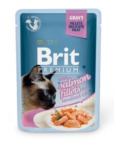 Brit ПРЕМИУМ Пауч для стерилизованных кошек GRAVY Salmon fillets Кусочки филе Лосося в соусе