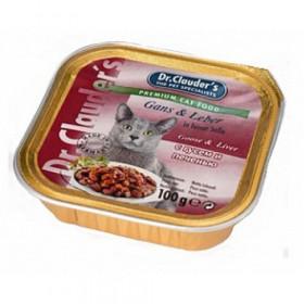 Dr.Clauder's консервированный корм для кошек с гусем и печенью для кошек 100г