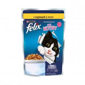 Felix (Феликс) Аппетитные кусочки. Корм консервированный полнорационный для котят, с курицей в желе
