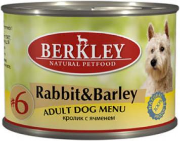 Berkley консервы для собак кролик с ячменём №6 200 г